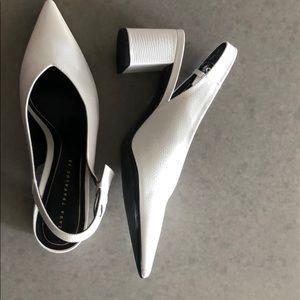 Zara white low heels